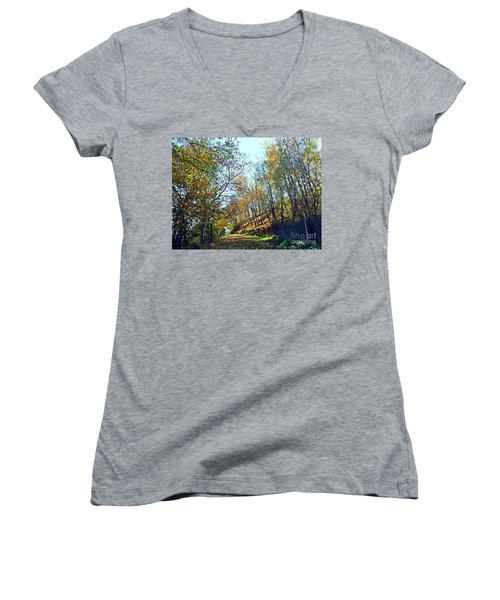 A Path In The Autumn Women's V-Neck T-Shirt