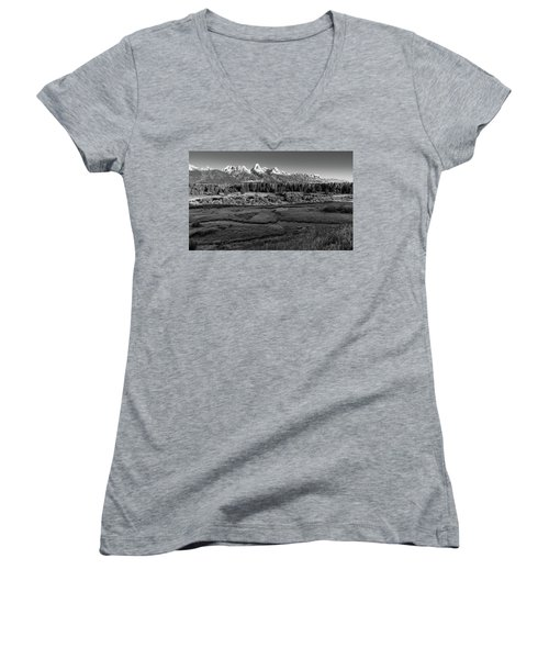 A Perfect Frosty Morning In Grey Scale Women's V-Neck T-Shirt