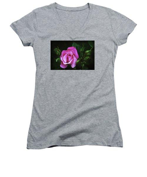 A Pink Rose Women's V-Neck T-Shirt (Junior Cut) by Trina Ansel