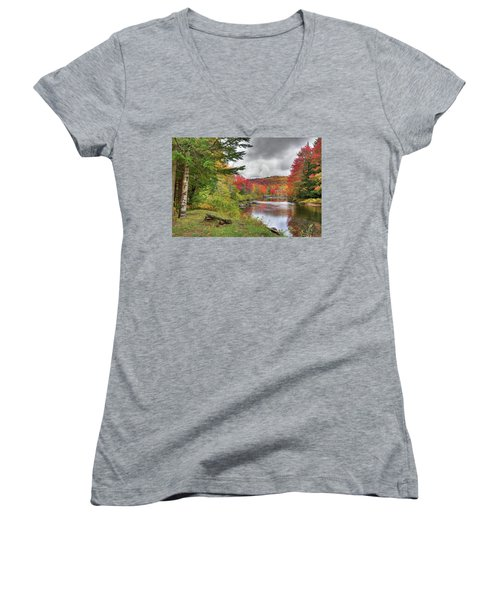 A Place To View Autumn Women's V-Neck T-Shirt (Junior Cut) by David Patterson