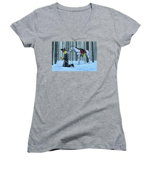 A Prayer In The Snow Women's V-Neck T-Shirt (Junior Cut) by Dave Luebbert