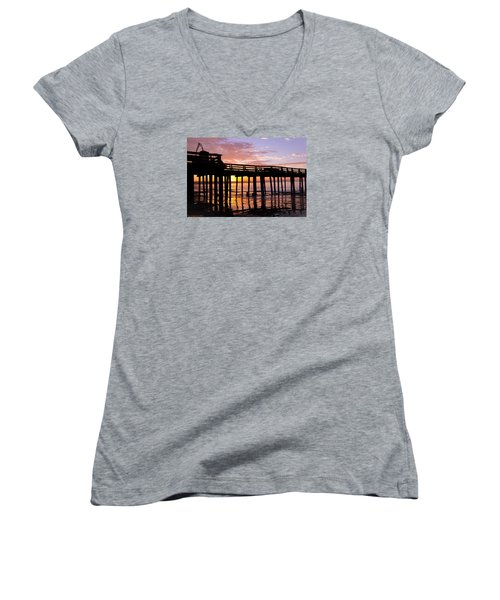 Women's V-Neck T-Shirt (Junior Cut) featuring the photograph A Quiet And Beautiful Start by Lora Lee Chapman