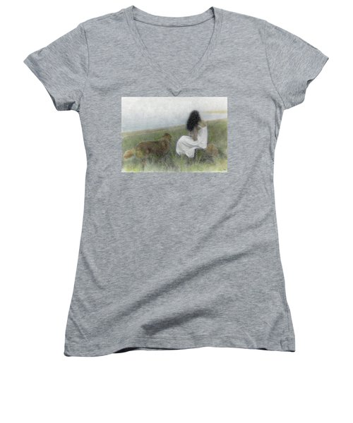 A Quiet Moment On The Vineyard Women's V-Neck
