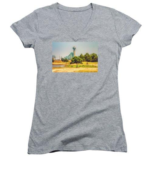 Women's V-Neck T-Shirt (Junior Cut) featuring the photograph A Quiet View by Joan Bertucci