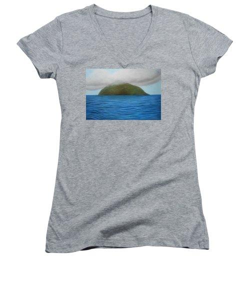 Hope- The Island  Women's V-Neck T-Shirt (Junior Cut) by Vishvesh Tadsare
