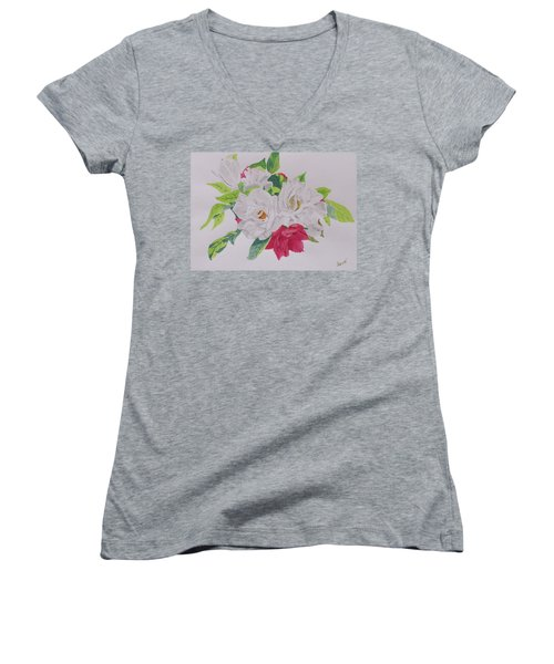 Women's V-Neck T-Shirt (Junior Cut) featuring the painting A Rose Bouquet by Hilda and Jose Garrancho