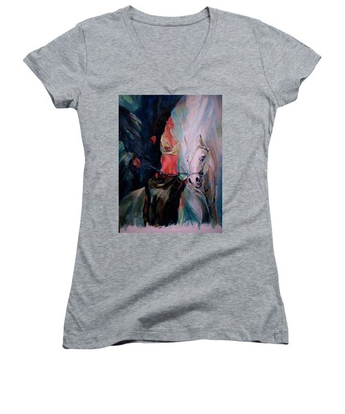 A Rider Women's V-Neck T-Shirt (Junior Cut) by Khalid Saeed