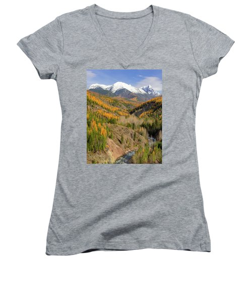A River Runs Through It Women's V-Neck T-Shirt (Junior Cut) by Jack Bell
