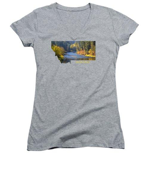 A River Runs Thru Autumn Women's V-Neck T-Shirt