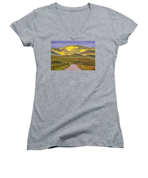Women's V-Neck T-Shirt (Junior Cut) featuring the photograph A Road Less Traveled by Marc Crumpler