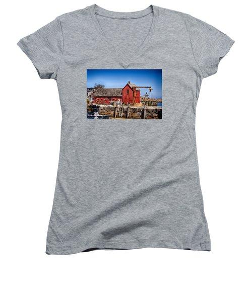 A Rockport Favorite Women's V-Neck T-Shirt (Junior Cut) by Tricia Marchlik