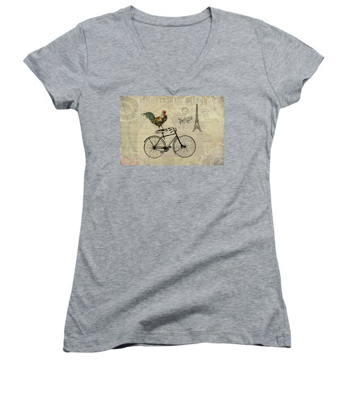 A Rooster In Paris Women's V-Neck