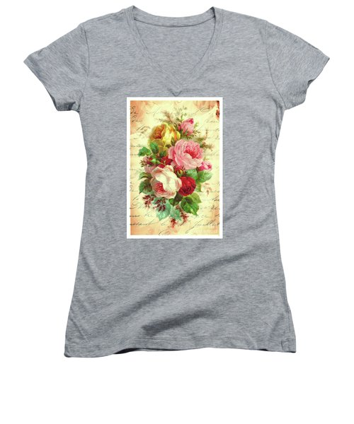 A Rose Speaks Of Love Women's V-Neck (Athletic Fit)