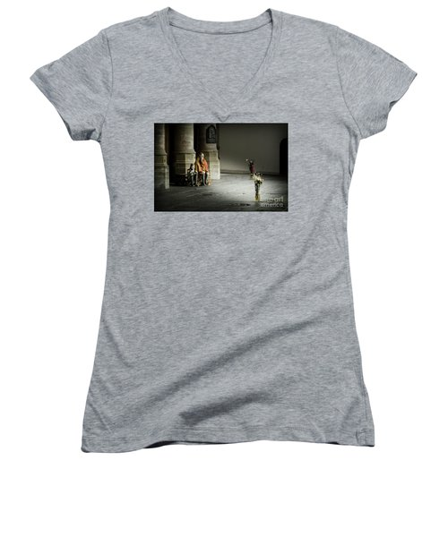 Women's V-Neck T-Shirt (Junior Cut) featuring the photograph A Scene In Oude Kerk Amsterdam by RicardMN Photography