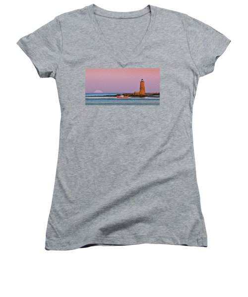 A Ship Passes The Super Moon And Whaleback Women's V-Neck