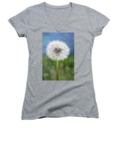 A Single Dandelion Seed Pod Women's V-Neck