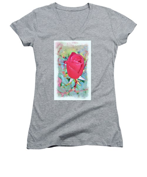 Women's V-Neck T-Shirt (Junior Cut) featuring the photograph A Single Rose In October by Joan  Minchak