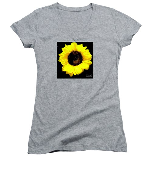 Women's V-Neck T-Shirt (Junior Cut) featuring the photograph A Single Sunflower by Merton Allen
