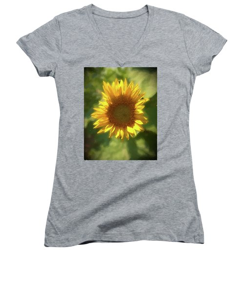 A Single Sunflower Showing It's Beautiful Yellow Color Women's V-Neck