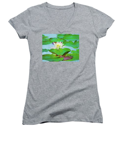 A Single Water Lily Blossom Women's V-Neck (Athletic Fit)