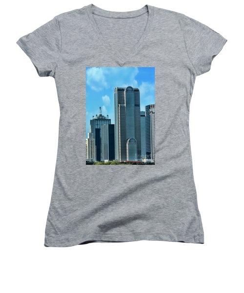 A Slice Of Dallas Women's V-Neck T-Shirt (Junior Cut) by Joan Bertucci