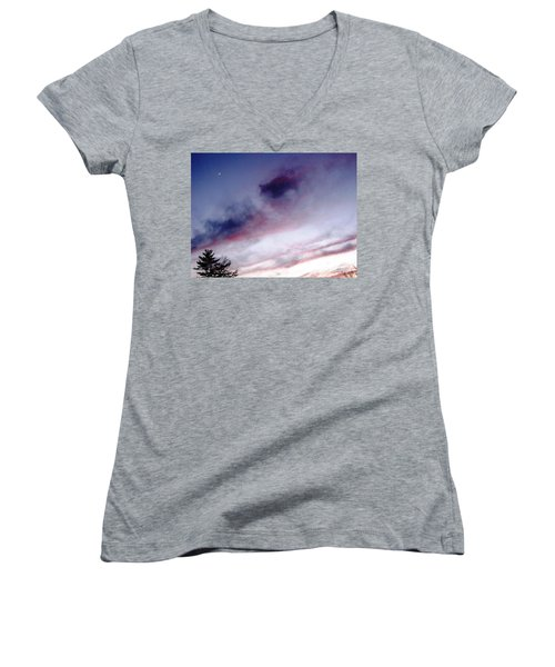 A Sliver Of Moon Women's V-Neck T-Shirt