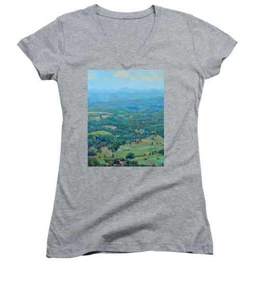 A Slow Summer's Day- View From Roanoke Mountain Women's V-Neck T-Shirt (Junior Cut) by Bonnie Mason