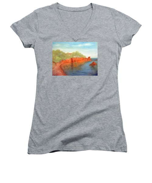 A Small Inlet Bay With Red Orange Rocks Women's V-Neck T-Shirt