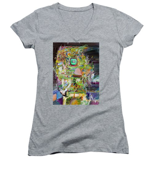 Women's V-Neck T-Shirt (Junior Cut) featuring the painting A Small Portion Of Herself by Fabrizio Cassetta