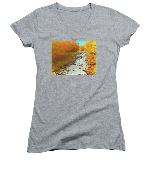 A Small Stream Bright Fall Color. Women's V-Neck (Athletic Fit)