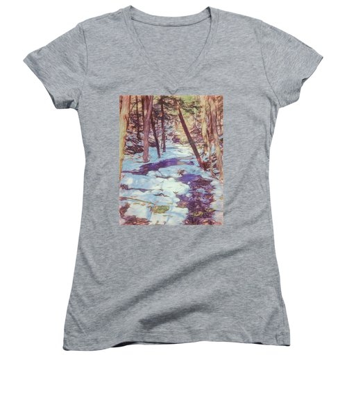 A Small Stream Meandering Through Winter Landscape. Women's V-Neck (Athletic Fit)