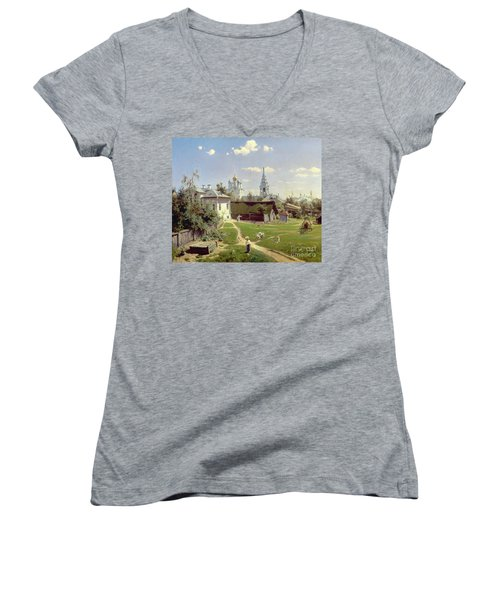 A Small Yard In Moscow Women's V-Neck T-Shirt (Junior Cut) by Vasilij Dmitrievich Polenov