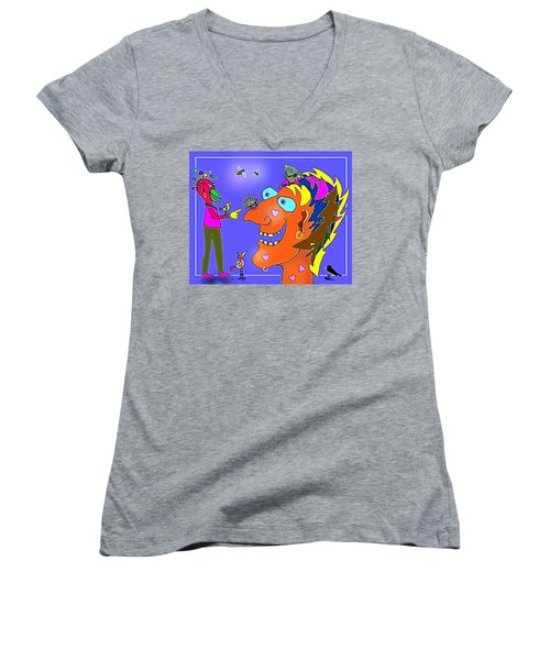 A Smile A Day . . . Women's V-Neck T-Shirt (Junior Cut) by Hartmut Jager