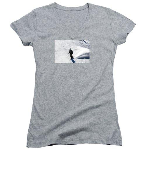 A Snowboarder Descends Aspen Mountain Women's V-Neck T-Shirt