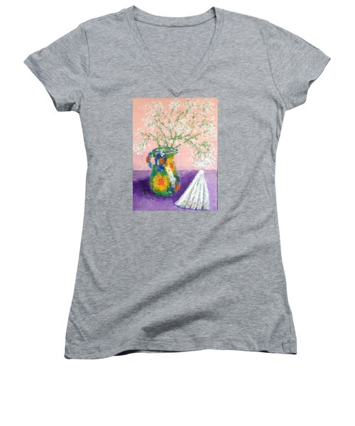 A Spanish Jar And A Fan Women's V-Neck T-Shirt (Junior Cut) by Tamara Savchenko