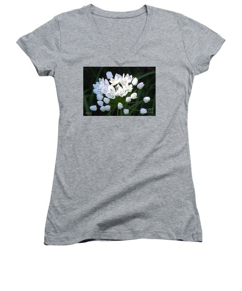 Women's V-Neck T-Shirt (Junior Cut) featuring the photograph A Spray Of Wild Onions by Felipe Adan Lerma