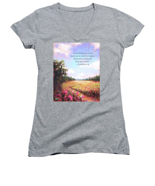 A Spring To Remember With Bible Verse Women's V-Neck