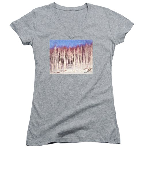 A Stand Of White Birch Trees In Winter. Women's V-Neck