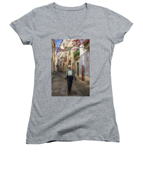 Women's V-Neck T-Shirt (Junior Cut) featuring the photograph A Stoll In Coimbra by Patricia Schaefer