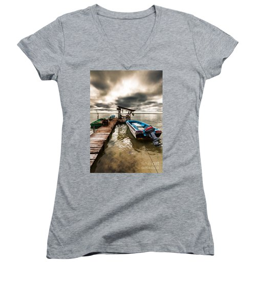 A Storm Brewing Women's V-Neck T-Shirt (Junior Cut) by Lawrence Burry