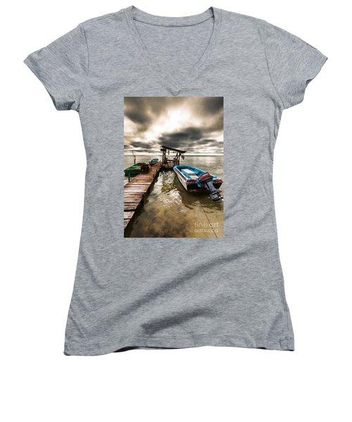 A Storm Brewing Women's V-Neck T-Shirt