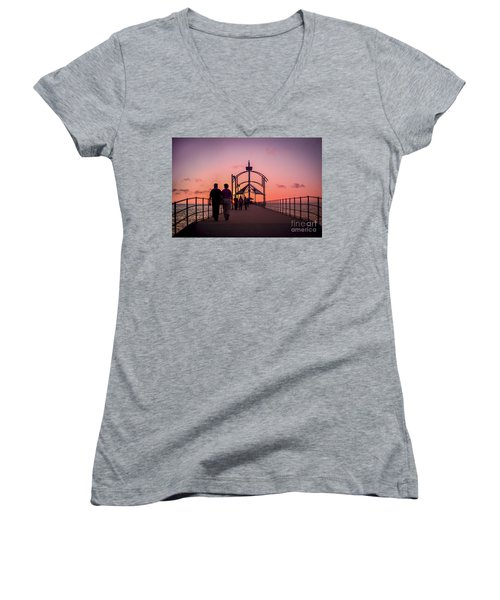 A Stroll Along Sunset Pier Women's V-Neck