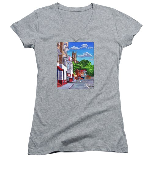 A Stroll On Melville Street Women's V-Neck T-Shirt (Junior Cut) by Laura Forde