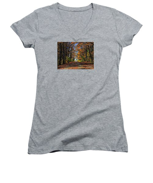 A Stroll Through Autumn Colors Women's V-Neck T-Shirt
