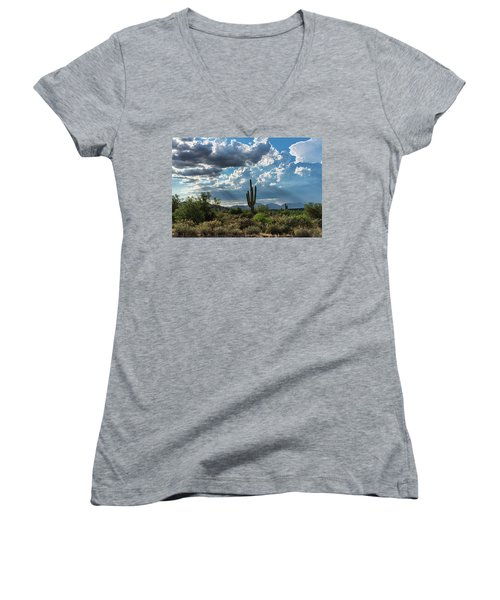 Women's V-Neck T-Shirt featuring the photograph A Summer Day In The Sonoran  by Saija Lehtonen