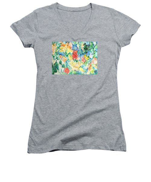 A Summer Garden Frolic Women's V-Neck T-Shirt (Junior Cut) by Esther Newman-Cohen