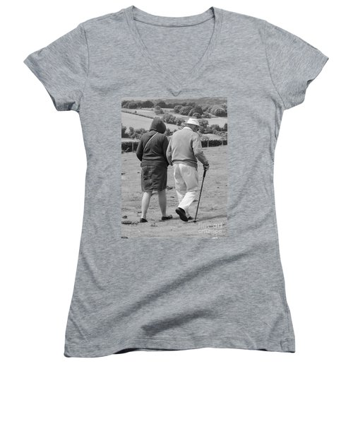 Women's V-Neck T-Shirt (Junior Cut) featuring the photograph A Sunday Stroll In The Country by Linsey Williams