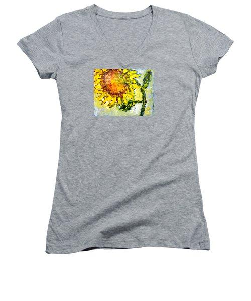 A Sunflower Greeting Women's V-Neck T-Shirt (Junior Cut) by Lynda Cookson