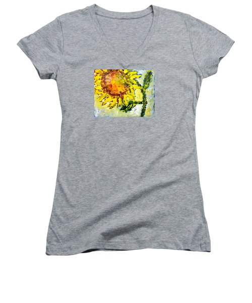 A Sunflower Greeting Women's V-Neck (Athletic Fit)