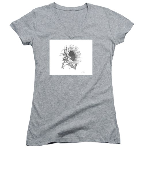 Women's V-Neck T-Shirt (Junior Cut) featuring the drawing A Sunflowers Beauty by Patricia Hiltz